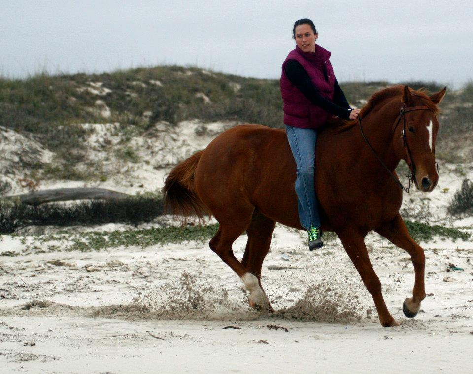 Light Artillery galloping on the beach with Amanda riding bareback!